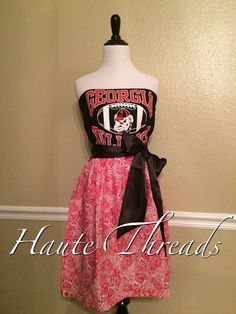 Georgia Bulldogs College Gameday Game Day Football Dress with Black Satin Sash  by hautethreadsboutique on Etsy