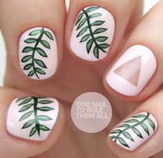 One Nail To Rule Them All: Negative Space Ferns - Carpets Mag Summer Manicure Designs, Diy Nail Designs, Garra, Flower Toe Nails, Sqaure Nails, Painted Toe Nails, Back To School Nails, Nail Art Blog, Nail Decorations