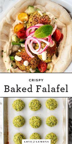 Crispy Baked Falafel Recipe - Love and Lemons Vegetarian Main Dishes, Vegetarian Recipes, Cooking Recipes, Healthy Recipes, Healthy Food, Dinner Healthy, Vegetarian Cooking, Easy Cooking, Easy Recipes
