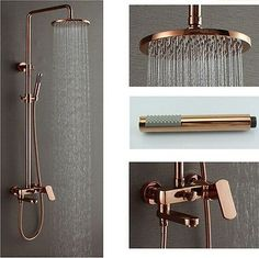 "Rose Gold Polish 8"" Brass Rain Shower Head Exposed Shower Faucet Set Mixer Tap"