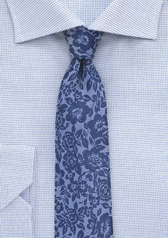 Blue Lace Silk Tie in Skinny Width | $15 on Cheap-Neckties