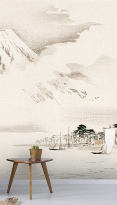 Set sail onto the crystal clear waters and watch the misty, smoky clouds curl and twist in our view of mount fuji wallpaper mural. Creating a calming oasis, this Japanese art wallpaper will transform your home into a stress-free zone.White and grey background with tones of rich, dark greens, this mural encapsulates pure serenity. We have paste the wall or peel and stick wallpapers to choose from. Click to see our large collection of wall murals at wallsauce.com #oriental #wallpaper Oriental Wallpaper, Tropical Wallpaper, Photo Wallpaper, Wall Wallpaper, Interior Design Work, Mount Fuji, Traditional Wallpaper, Crystal Clear Water, Set Sail
