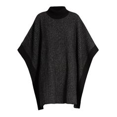 Tomas Maier Striped roll-neck wool poncho ($364) ❤ liked on Polyvore featuring outerwear, black grey, woolen poncho, wool ponchos, gray poncho, tomas maier and grey wool poncho