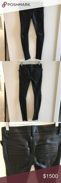 Authentic Balmain leather pants Authentic Balmain leather pants. New without tags, never worn. Super soft lambskin. Size 34 Balmain Pants
