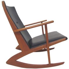 Danish Teak and Leather Rocker by Soren Georg Jensen ca. 1960s
