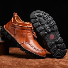 Rétro Hommes Fermeture Éclair Bride à Boucle Bottines Business Formelle Chaussures en Cuir Noir Tops