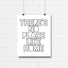 "Printable Art Typography Poster Wizard of Oz ""There's No Place Like Home"" Inspirational Print Motivational Quote Digital Download1"