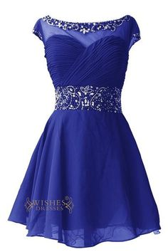 Look charming at your prom, sweet 16 party in this stunning short gem dress .sexy illusion top with o neckline and sequins combines wit sparkling beadwork while the back with zipper closed method ending with keyhole designe.Neckline:0 necklineLength:Short lengthDetails:SequinsFabric:Elastic Satin,ChiffonColor:Royal Blu