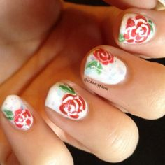 Rose Nail Art with Magic Goose Sweetie Shope as a base by Jess of @claws4paws http://instagram.com/claws4paws