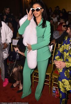 Out and about: Cardi B, 25, was snapped at New York City's Grand Lodge as she was seated in the front row of the Christian Siriano show as part of New York Fashion Week Saturday
