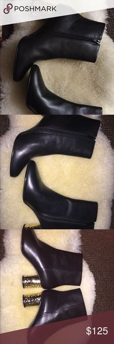 Kurt Geiger ankle boots Good condition, scuffs at sole, a few scratches throughout (almost not noticeable), fit true to size. Gold detail heel (very trendy). Euro size 39, US size 8. kurt geiger Shoes Ankle Boots & Booties