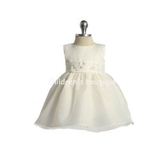 Elegant Infant Flower Girl Dress With Seed Pearls:  Simplistic Sophistication is represented in this flower girls dress.  Satin bodice with organza overlay skirt is brought together with an attached cummerbund waistband and satin tiebacks.