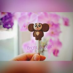spoon cute Cheburashka, hero tales cartoon, teaspoon decorate, spoon figure kitchen, polymer clay fimo, exclusive handmade, gift children by BrightBobcat on Etsy