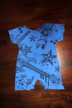 90b9ef0762 Items similar to Upcycled Blue Rock Baby Romper on Etsy