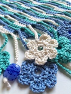 Blue shades flowery beaded crochet summer scarf