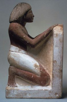 *EGYPT ~ Statue of Roy Chanting the Solar Hymn Written on His Stela Period: New Kingdom Dynasty: Dynasty 18 Reign: reign of Amenhotep II Date: ca. 1427–1400 B.C. Geography: Egypt, Upper Egypt; Thebes Medium: Limestone, paint