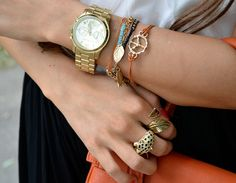 I love the look of lots of bracelets and rings