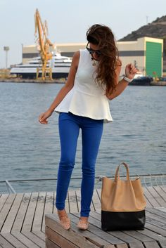 White peplum top idea...cobalt skinnies