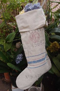 "Linen Feedsack Large Stocking (24"" x 14"")  $19"