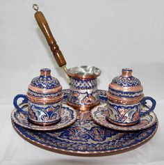 Hand hammered Turkish Coffee Set for Two. Blue Color, Unique Turkish Coffee Cup Set with Coffee Pot and Tray. http://www.grandbazaarshopping.com/#!product/prd2/3683412861/turkish-arabic-greek-coffee-set-for-two