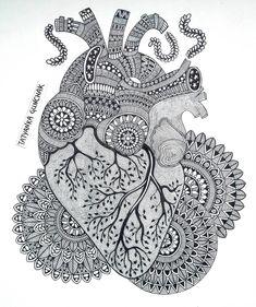 heart by Tatyanka-Gunchak on DeviantArt Mandala Art Lesson, Mandala Artwork, Mandala Painting, Mandala Drawing, Art Drawings Sketches Simple, Pencil Art Drawings, Doddle Art, Doodle Art Designs, Art Painting Gallery