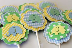 Elephant Cupcake Toppers by PaisleyGreer on Etsy, $17.00