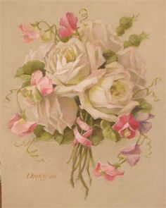 Christie Repasy Sweet Sentiments Original Shabby Canvas Print, featuring a bouquet of white and pink roses , this canvas print is an original painting by Christie Repasy. Floral Vintage, Art Vintage, Vintage Flowers, Vintage Prints, Images Vintage, Vintage Postcards, Arte Floral, Vintage Rosen, Rose Art