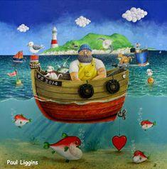 CRUCITA GUTIÉRREZ SEGOVIA: MIS AMIGOS PINTORES - PAUL LIGGINS Nautical Quilt, Sea Illustration, Building Art, Sea Art, Arte Popular, Drawing Skills, Beach Scenes, Illustrations And Posters, Art World