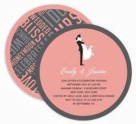 tarjeta de casamiento redonda al mejor estilo 50!