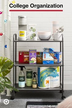 Solve for the small space with smart storage, like a utility cart to house snacks, dishes and cleaning supplies. College Dorm List, College Room Decor, College Dorm Decorations, College Dorm Rooms, College Furniture, Wall Decorations, Dorm Storage, Dorm Organization, Smart Storage