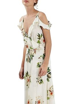 Topshop Floral Print Ruffle Cold Shoulder Wrap Maxi Dress available at #Nordstrom