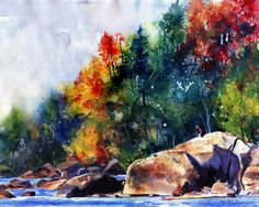 Landscape River Art Print of my watercolor by rachelsstudio - Saluda River Rocks