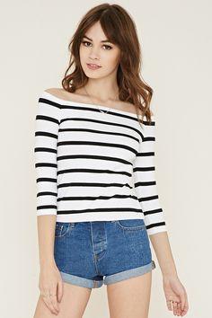 Stripe Off-the-Shoulder Top | Forever 21 - 2000186478