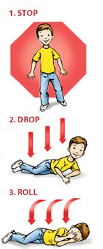 Excellent reference and lesson plan from the National Fire Protection Agency on Stop, Drop and Roll and other fire safety precautions. Perfect for Daisy Safety Award and fire safety in general.