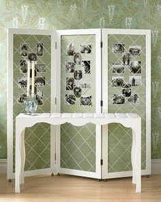 love this room divider and the monochromatic green