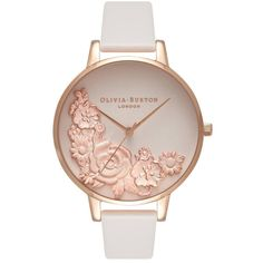 Olivia Burton Moulded Floral Bouquet Watch - Blush & Rose Gold (4 955 UAH) ❤ liked on Polyvore featuring jewelry, watches, accessories, bracelets, flower watches, floral jewelry, dial watches, pink gold watches and olivia burton