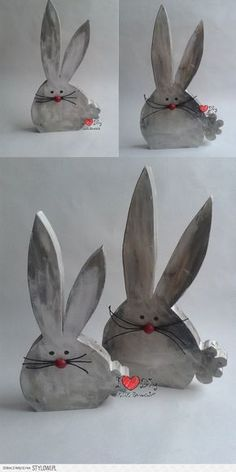 szaraki na Stylowi.pl Happy Easter, Easter Bunny, Easter Eggs, Wooden Rabbit, Concrete Crafts, Wooden Crafts, Easter Projects, Easter Crafts, Spring Crafts