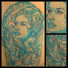 San Diego CustomTattoo Artist Terry Ribera makes an Art Nouveau Girl with Peacock Feather and Roses. - Terry Ribera