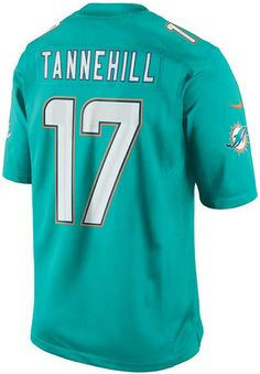 No one can doubt your status as a true Miami Dolphins fan when you're wearing your Nike Ryan Tannehill Limited jersey. Elements like strategic ventilation and a no-tag neck label add comfort, and the tackle twill details add an appealing note of authenticity. V-neckline Pullover style Short sleeves Screen print graphics throughout Fabric applique numbers and letters at front and back Jock tag at hem Vents at hem Tagless