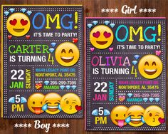 Emoji Invitation, Emoji Birthday Invitation, Emoji Party, Girl Emoji Invitation, Boy Emoji Birthday Invitation, Smile Invitation by GalaPartyPrintable on Etsy https://www.etsy.com/listing/487054188/emoji-invitation-emoji-birthday