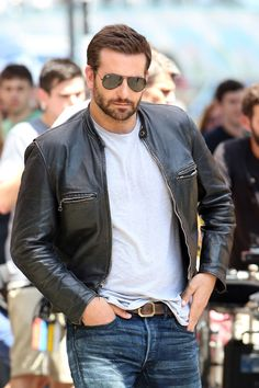 Bradley Cooper in Kelly Cole vintage leather jacket and Kelly Cole vintage leather belt