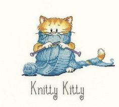 Heritage Crafts Knitty Kitty - Cross Stitch Pattern. A Peter Underhill design. Model stitched on fabric of your choice with DMC floss. Stitch Count: approximate