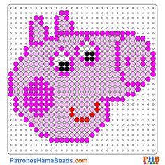 Peppa Pig plantilla hama bead. Descarga una amplia gama de patrones en formato PDF en www.patroneshamabeads.com