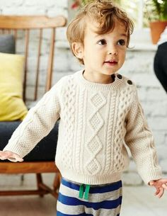 Knitting Patterns Boy Cosy Cable Sweater 71544 Knitted Sweaters at Boden Baby Boy Sweater, Knit Baby Sweaters, Cable Sweater, Boys Sweaters, Chunky Sweaters, Baby Boy Knitting Patterns Free, Baby Sweater Patterns, Knitting For Kids, Boys Clothes Style