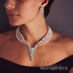 This exquisite piece can be seen at Baselworld in Pearl And Diamond Necklace, Pearl Jewelry, Diamond Jewelry, Beaded Jewelry, Jewelry Sets, Fine Jewelry, Women Jewelry, Fashion Jewelry, Bridal Earrings