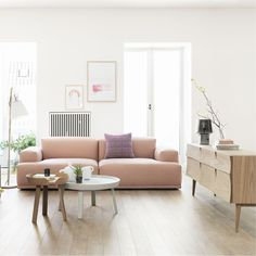 The Connect Lounge Sofa is a stunning piece of contemporary furniture created by Anderssen & Voll for the Muuto label. In the classic Muuto tradition, Pale Dogwood, Living Room Designs, Living Room Decor, Living Rooms, Decoracion Vintage Chic, Deco Rose, Pink Sofa, Blush Sofa, Orange Sofa