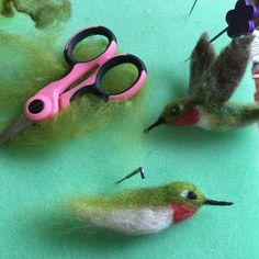 Needle felt hummingbird work in progress