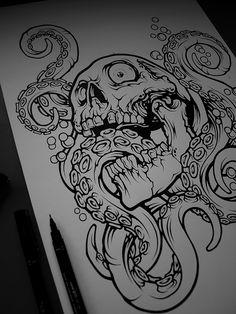 My first work publishd on Behance - enjoy it. ( Illustrator and Photoshop ) Sketch Tattoo Design, Tattoo Sketches, Tattoo Drawings, Cool Drawings, Art Sketches, Tattoo Designs, Ant Drawing, Octopus Drawing, Skull Tattoos