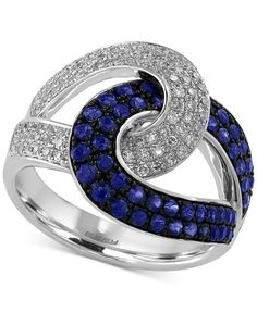 Effy Sapphire (3/4 ct. t.w.) and Diamond (3/8 ct. t.w.) Loop Ring in 14k White Gold