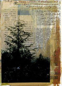 (by bgmills) photo printed on transparency and laid on top of collaged papers fused with wax